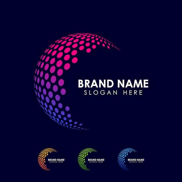 Modello di logo della sfera del punto. icona di vettore del globo Vettore Premium