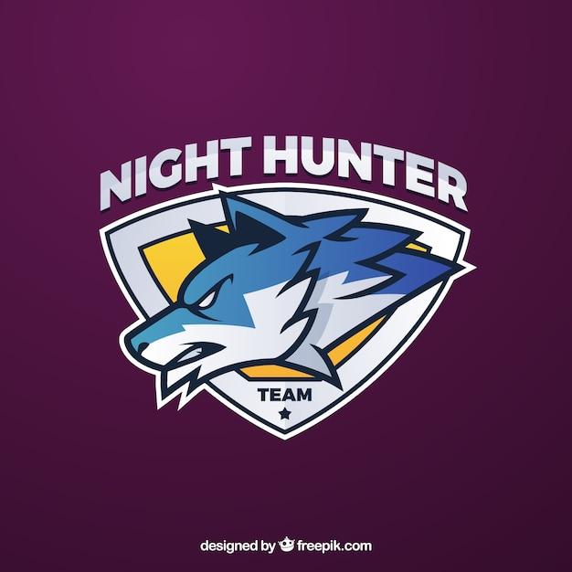 Modello di logo della squadra di e-sport con il lupo Vettore gratuito