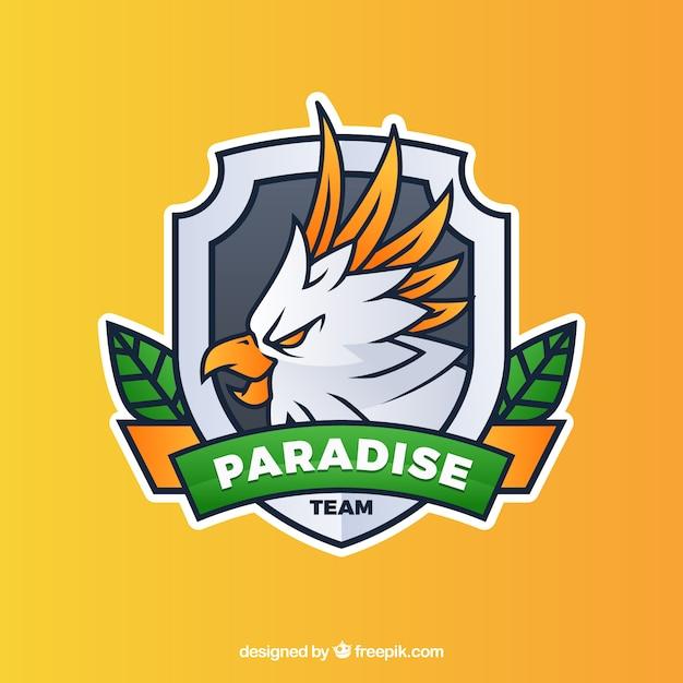 Modello di logo della squadra di e-sport con pappagallo Vettore gratuito