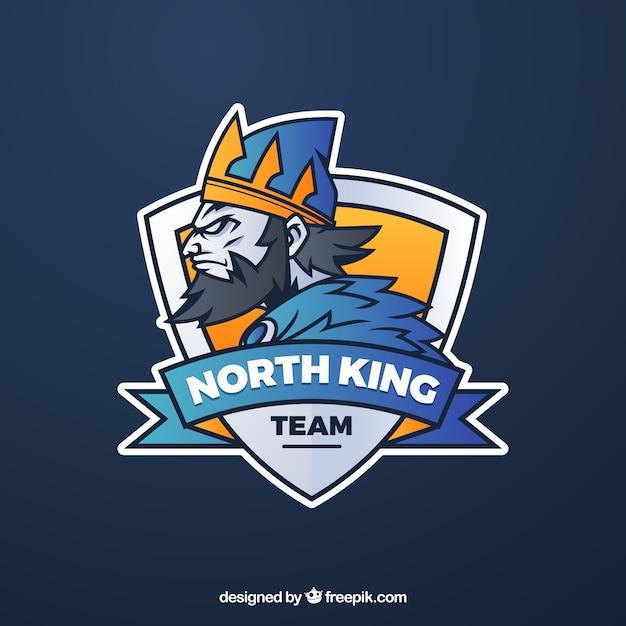 Modello di logo della squadra di e-sport con re Vettore gratuito