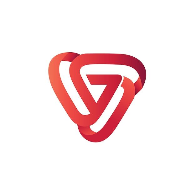 Modello di logo design astratto triangolo Vettore Premium