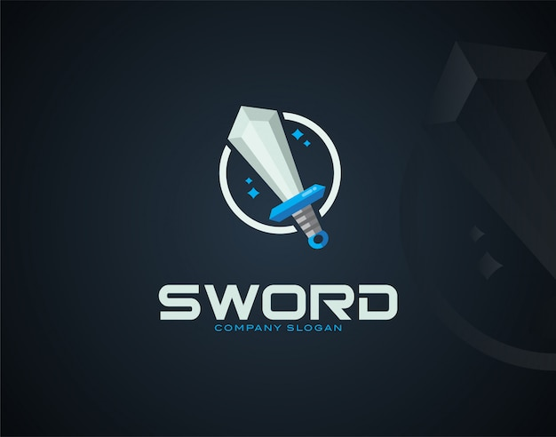 Modello di logo design moderno e di lusso sword Vettore Premium