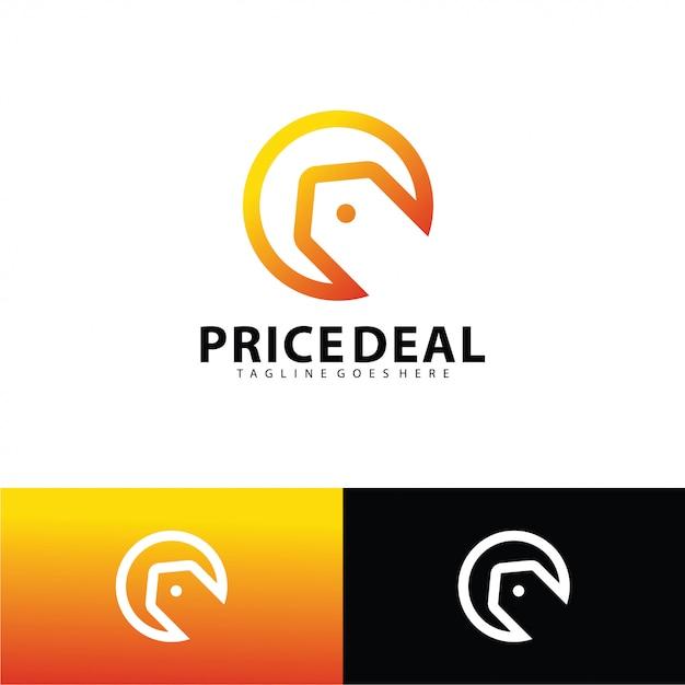 Modello di logo di affare prezzo Vettore Premium