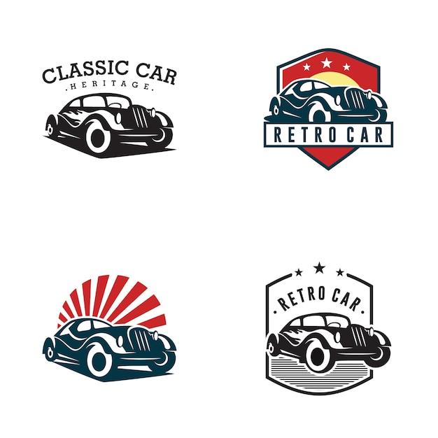 Modello di logo di auto d'epoca Vettore Premium