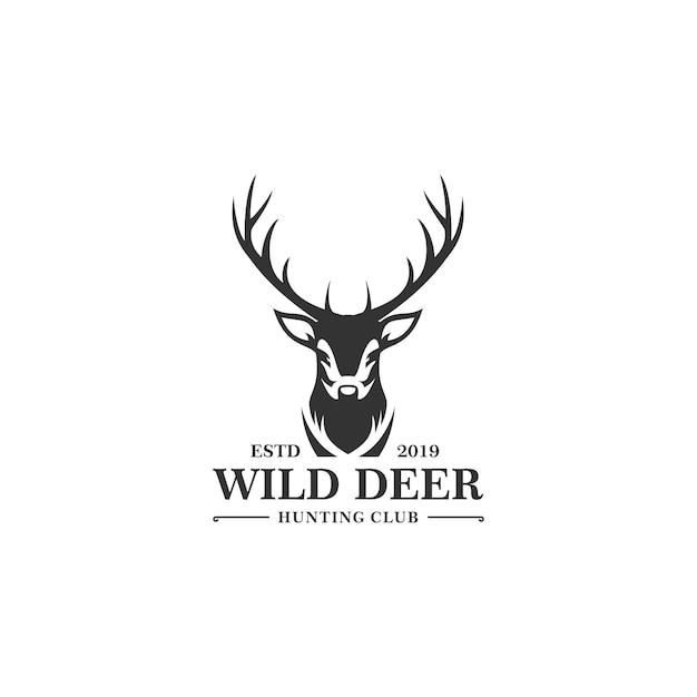 Modello di logo di caccia dei cervi Vettore Premium