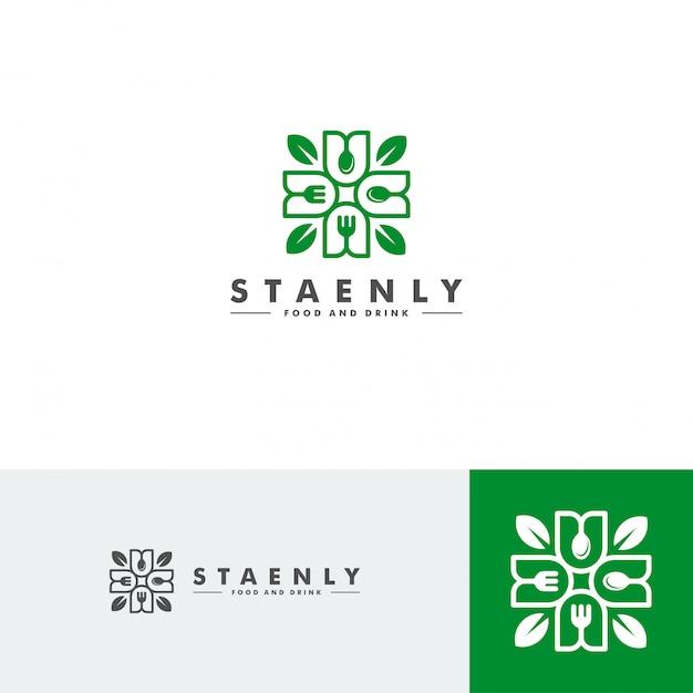 Modello di logo di cibo e bevande, icona del ristorante Vettore Premium