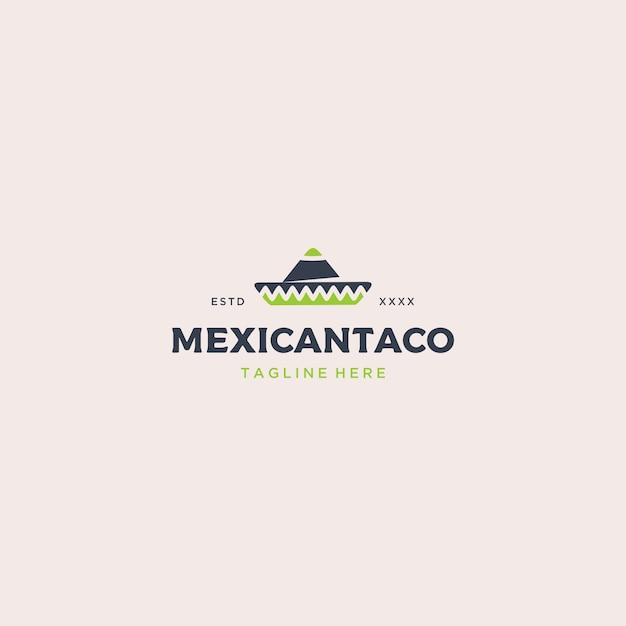 Modello di logo di cibo messicano tacos Vettore Premium
