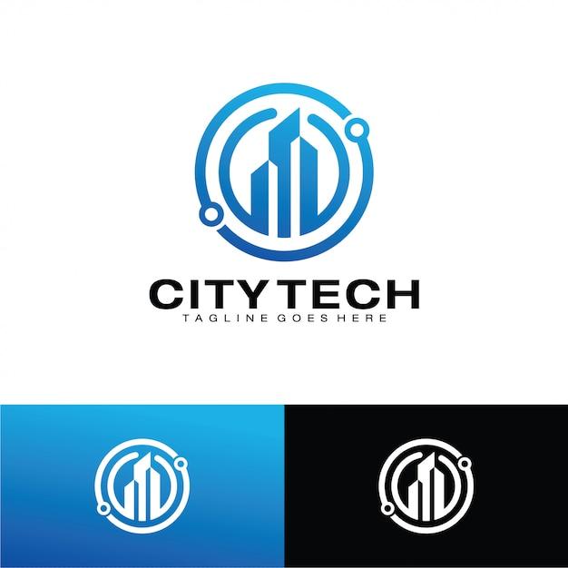 Modello di logo di città tech Vettore Premium
