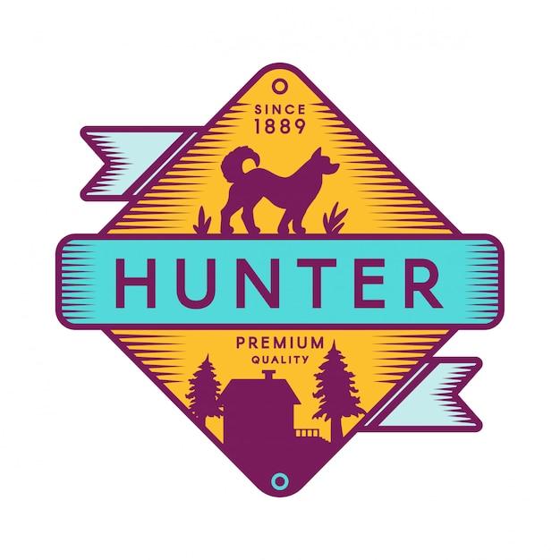 Modello di logo di colore retrò campo hunter Vettore Premium