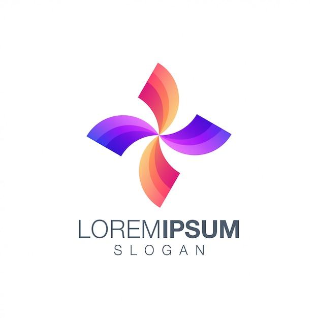 Modello di logo di colore sfumato lettera x. Vettore Premium