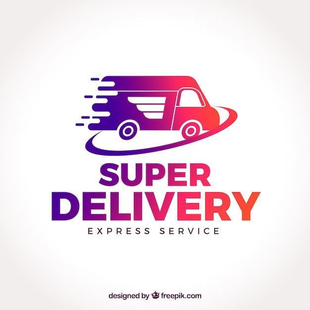 Modello di logo di consegna con camion Vettore gratuito