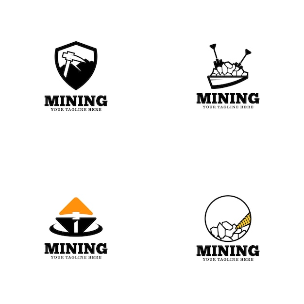 Modello di logo di data mining Vettore Premium