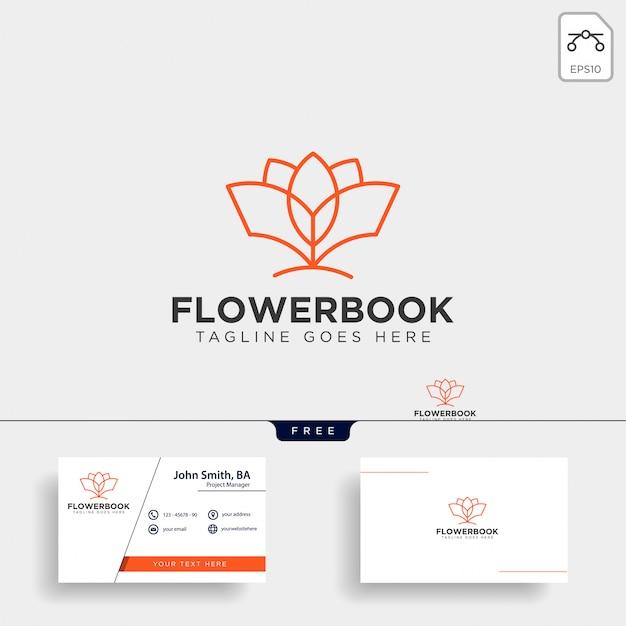 Modello di logo di educazione del libro albero, pianta e fiore Vettore Premium