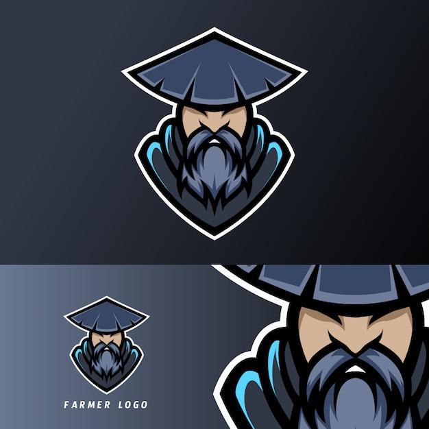Modello di logo di esport contadino mascotte sport esport con cappuccio, barba, cappello Vettore Premium