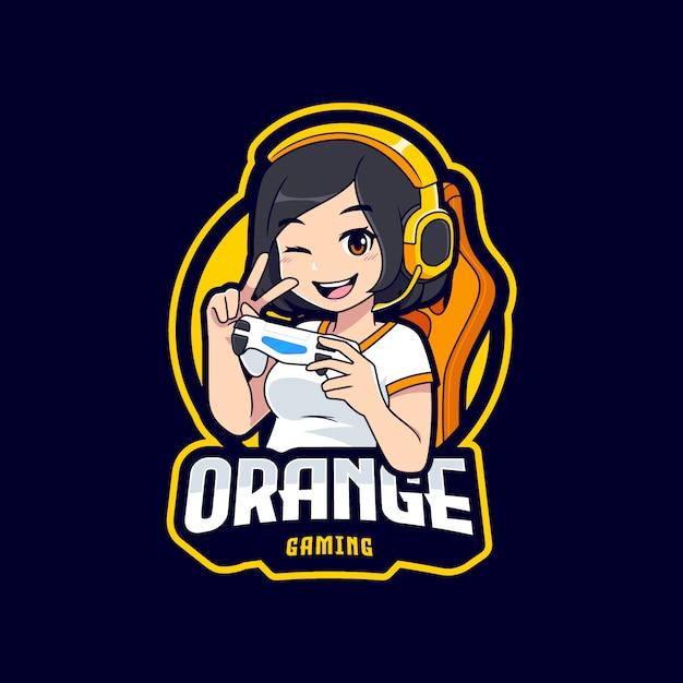 Modello di logo di esportazione del personaggio ragazza giocatore Vettore Premium