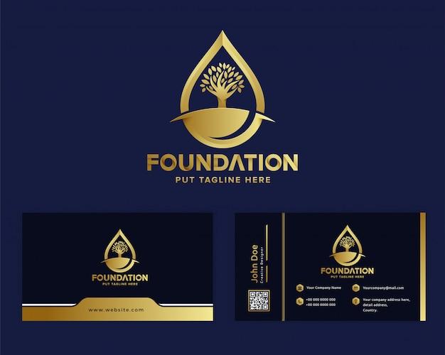 Modello di logo di fondazione di lusso premium Vettore Premium
