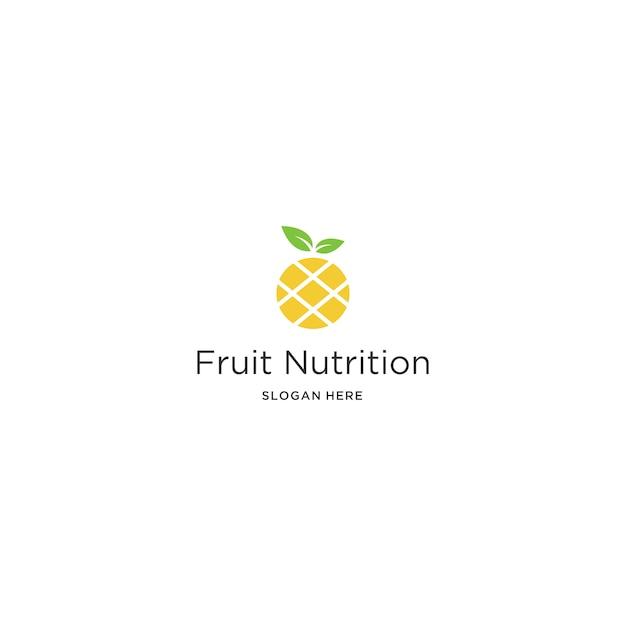 Modello di logo di frutta nutrizione Vettore Premium