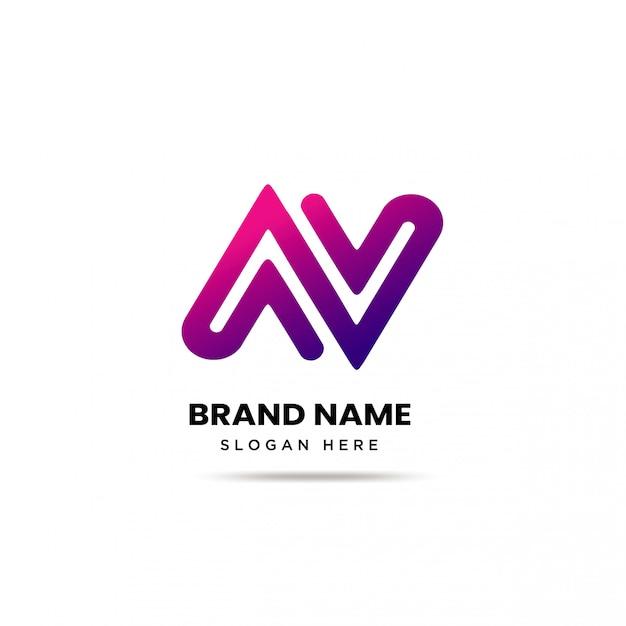 Modello di logo di lettera moderna nav Vettore Premium