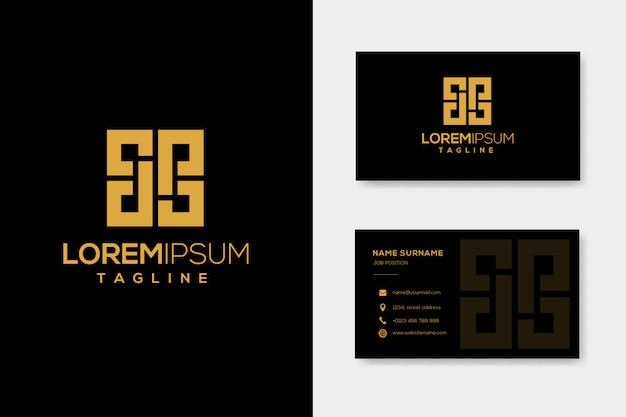 Modello di logo di lusso dp lettera con biglietto da visita Vettore Premium
