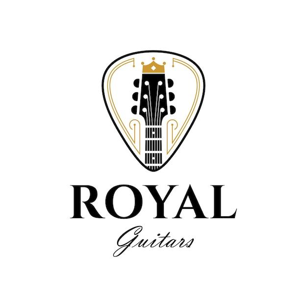 Modello di logo di lusso per chitarre reali Vettore Premium