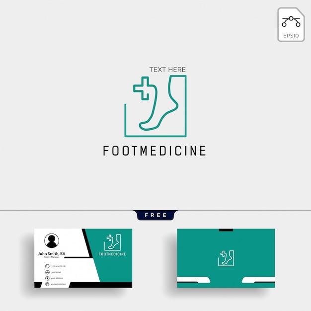Modello di logo di medicina caviglia piede con biglietto da visita Vettore Premium