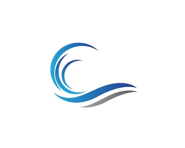 Modello di logo di onda di acqua Vettore Premium