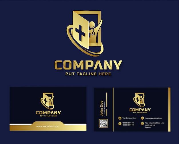 Modello di logo di ospedale medico di lusso premium per azienda Vettore Premium