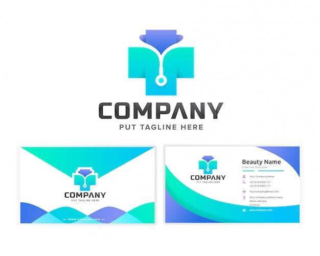 Modello di logo di ospedale medico per azienda Vettore Premium
