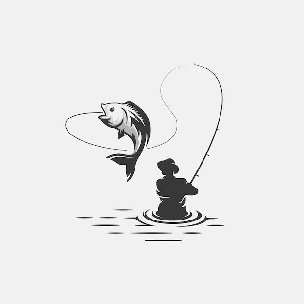 Modello di logo di pesca Vettore Premium