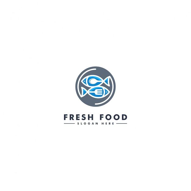 Modello di logo di pesce, icona di pesce Vettore Premium