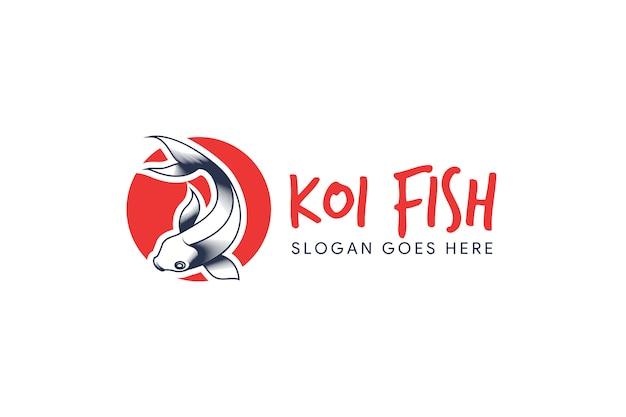 Modello di logo di pesce koi Vettore Premium