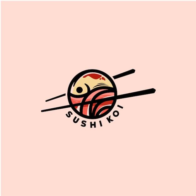 Modello di logo di pesce sushi Vettore Premium