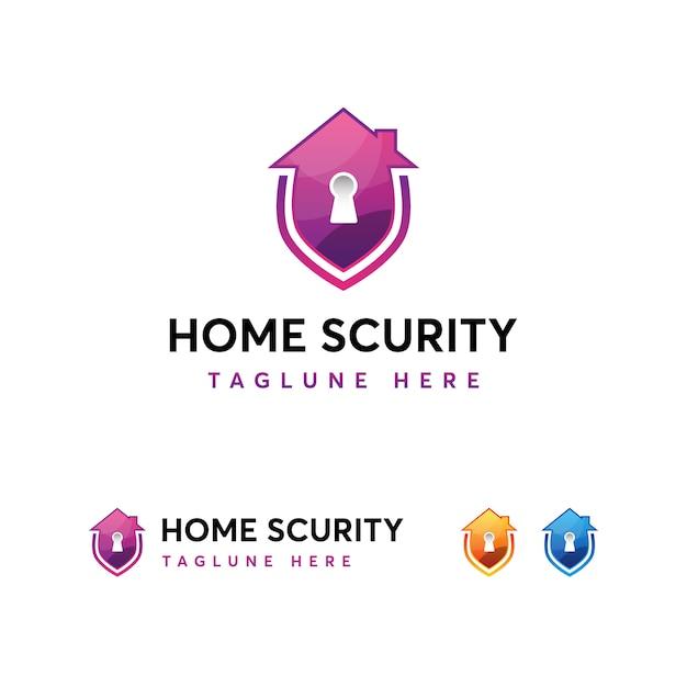 Modello di logo di sicurezza domestica Vettore Premium