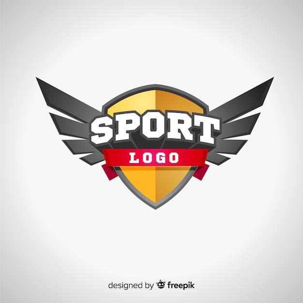 Modello di logo di sport moderno con disegno astratto Vettore gratuito