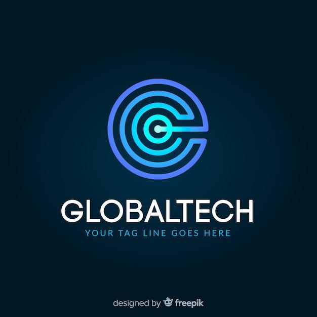 Modello di logo di tecnologia con forme astratte Vettore gratuito