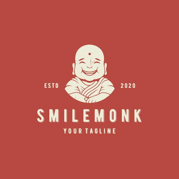 Modello di logo di vettore di monaco di sorriso Vettore Premium