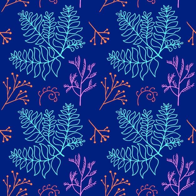 Modello di logo disegnato a mano botanico di vettore Vettore Premium