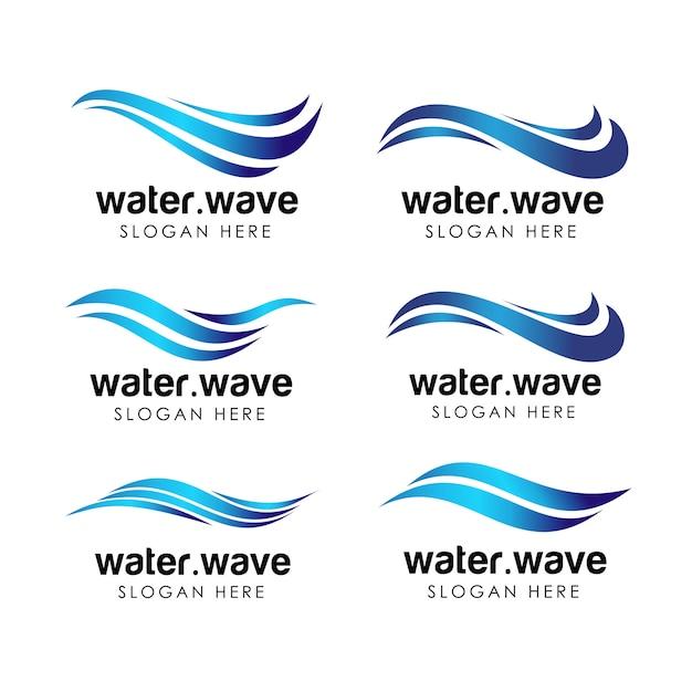 Modello di logo e icona del settore idrico. design del logo dell'acqua fluente Vettore Premium