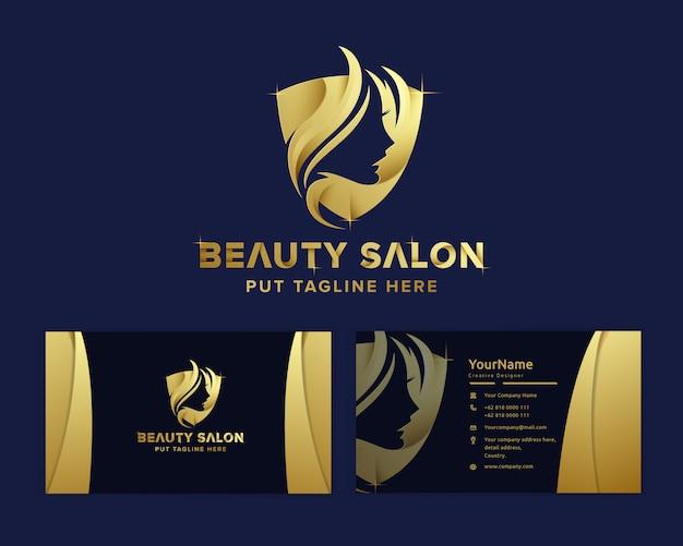 Modello di logo femminile bellezza di lusso premium Vettore Premium