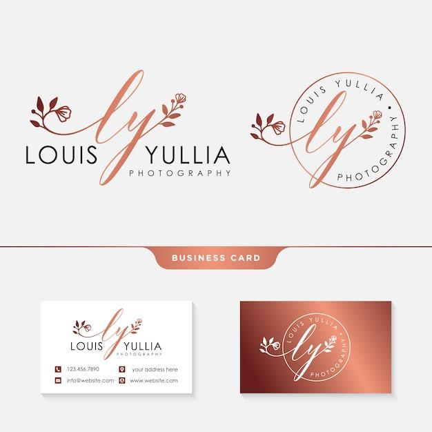 Modello di logo femminile iniziale ly e biglietto da visita Vettore Premium
