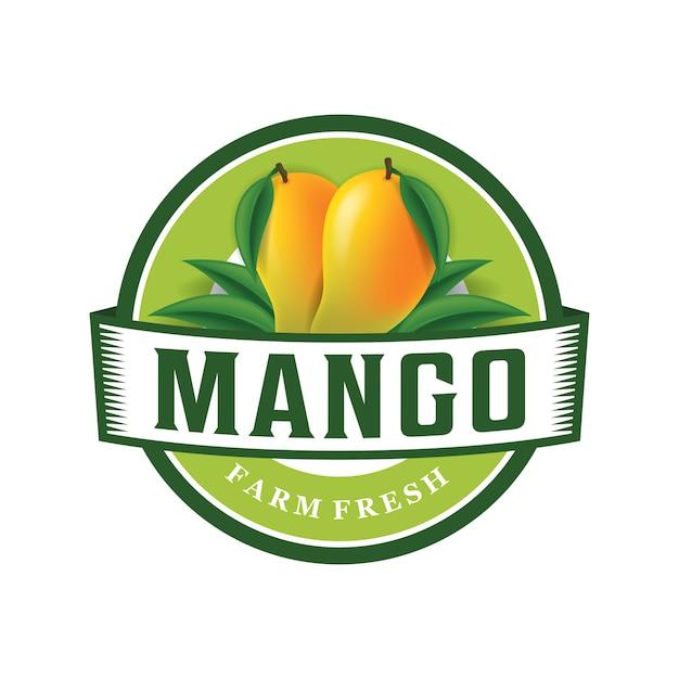 Modello di logo fresco di fattoria di mango Vettore Premium