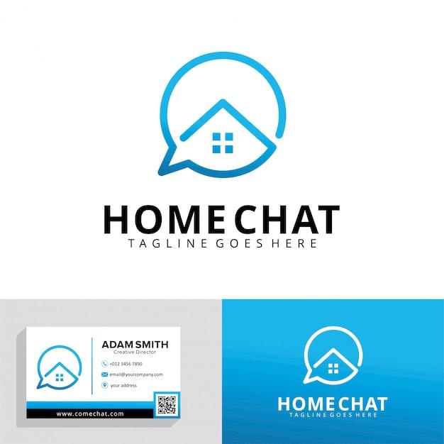 Modello di logo home chat Vettore Premium