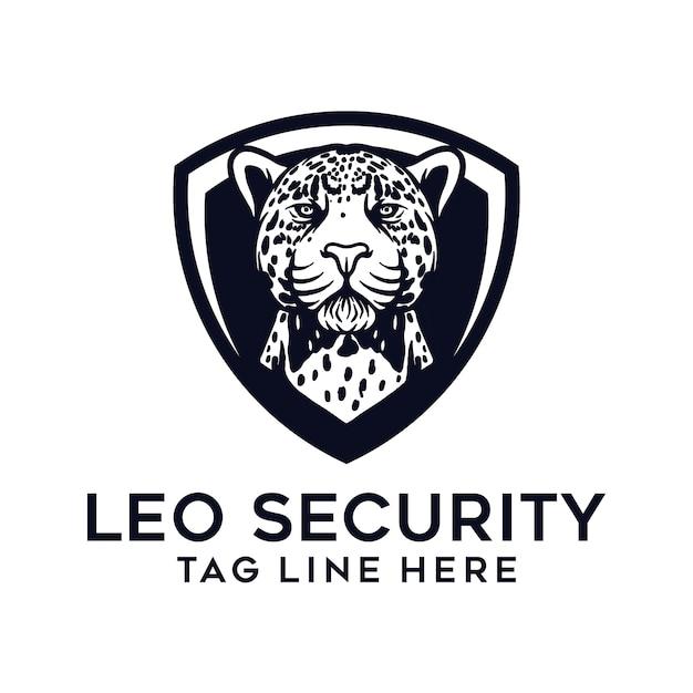 Modello di logo leopardo e scudo Vettore Premium