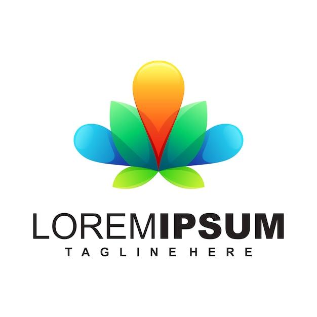 Modello di logo lotus Vettore Premium