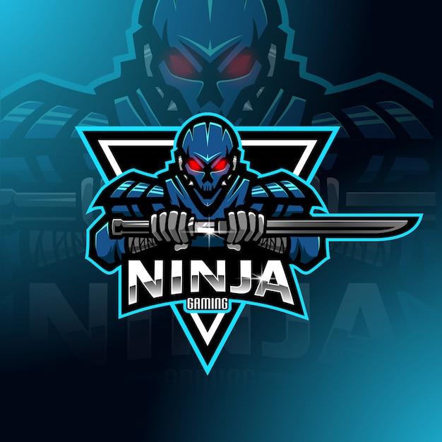 Modello di logo mascotte esport ninja robot esport Vettore Premium