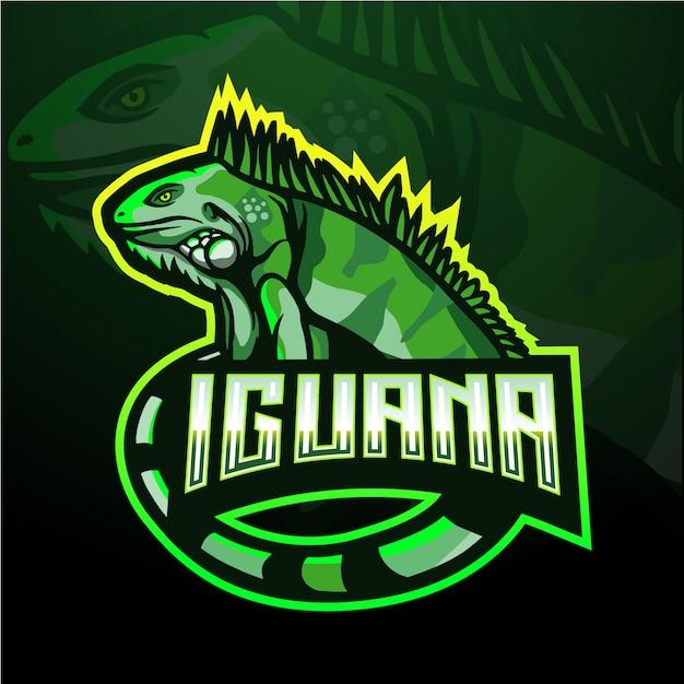 Modello di logo mascotte iguana esport Vettore Premium