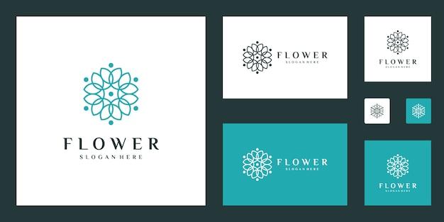 Modello di logo minimalista elegante fiore con stile art linea Vettore Premium