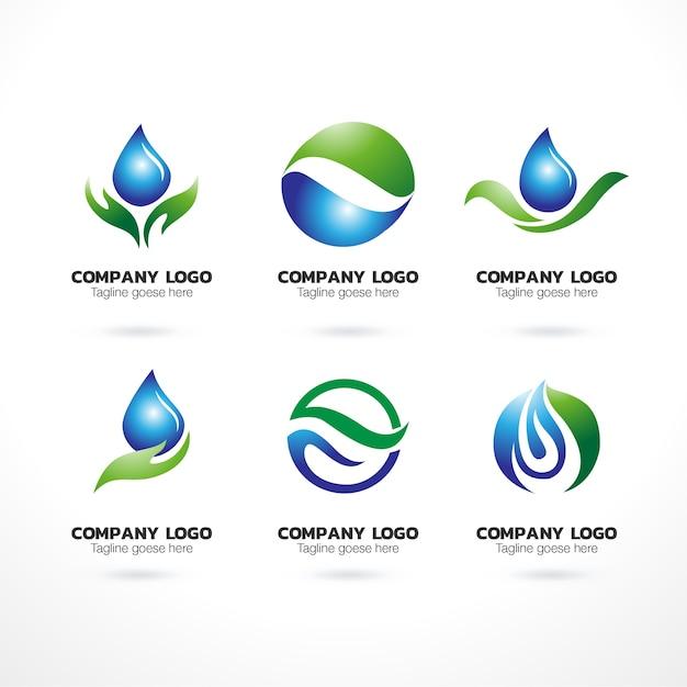 Modello di logo naturale di raccolta Vettore Premium