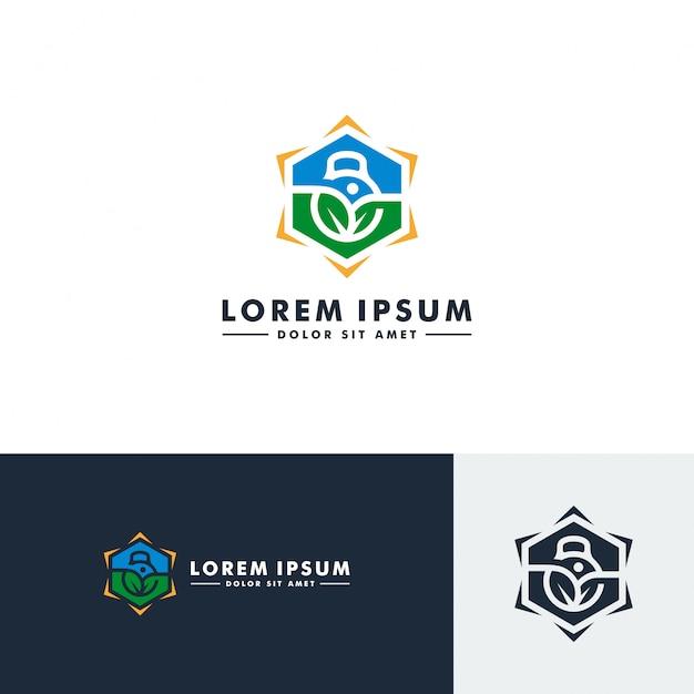 Modello di logo palestra fitness, icona di sport Vettore Premium