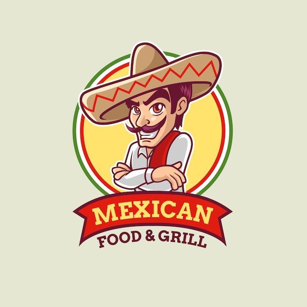 Modello di logo ragazzo messicano del fumetto Vettore Premium